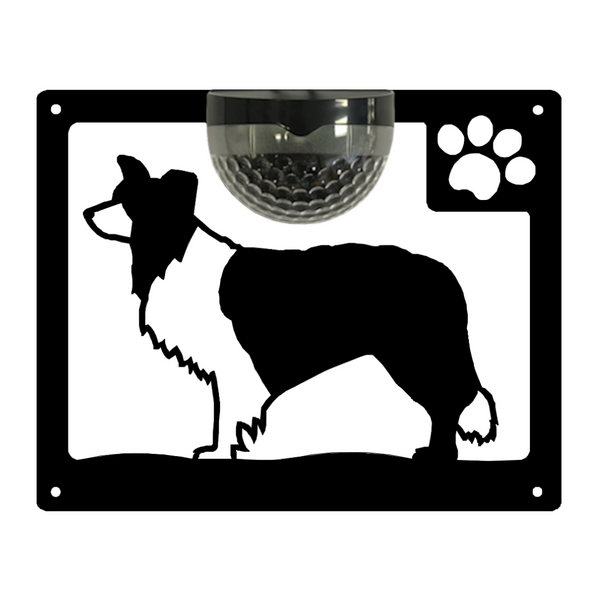 Border Collie Dog Solar Light Wall Plaque - Garden Gift - Flory's Online