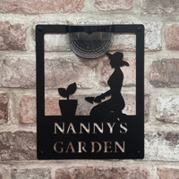 Nanny's Garden Sign with Solar Powered Light