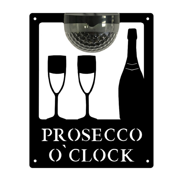 Prosecco O'Clock Sign with Solar Powered Light