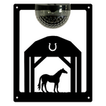 Horse In Barn Solar Light Wall Plaque