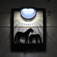 Horse and Foal Solar Light Wall Plaque