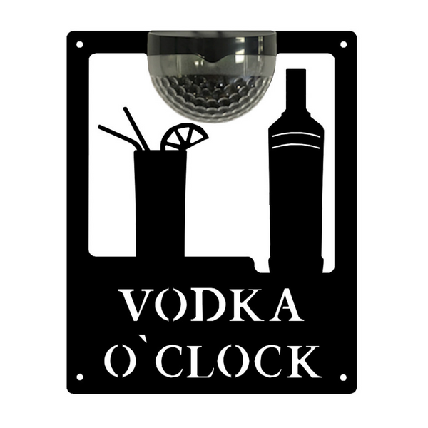 Vodka O'Clock Sign with Solar Powered Light