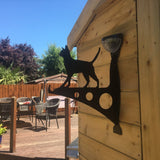 Cat Garden Bracket with Solar Light - Large - Flory's Online. Customer photo, the bracket is fixed onto a shed.