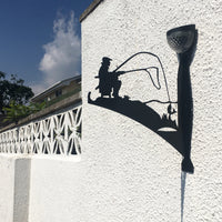 Fisherman Garden Hanging basket Bracket with Solar Light on white garden wall - Large - Flory's Online