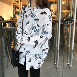 Chic Shirt Printed Loose Αιτίες Tops Μπλούζα