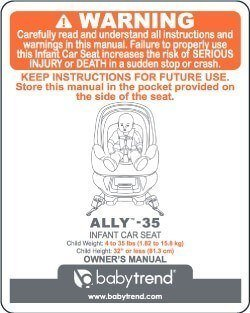 Ally 35 infant car seat warning