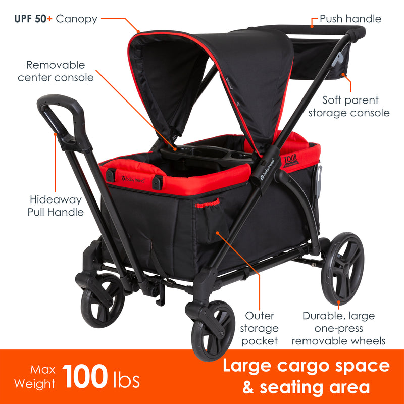 Tour 2-in-1 Stroller Wagon - Mars Red (Walmart Exclusive)