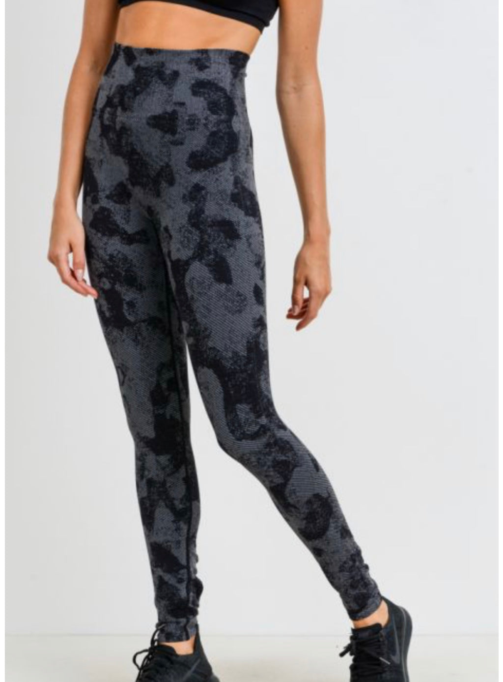Seamless Black Striped Camo Print Leggings *Clearance*