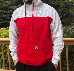 Navy Color Block Fleece Hooded Pullover (Red and Black)