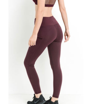 Mono B RED - Highwaist Side-Mesh & Slit Full Leggings
