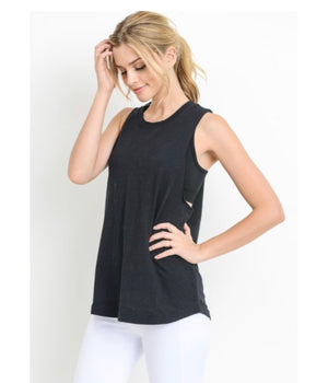 Cutout Strap Ladder Back Muscle Tee