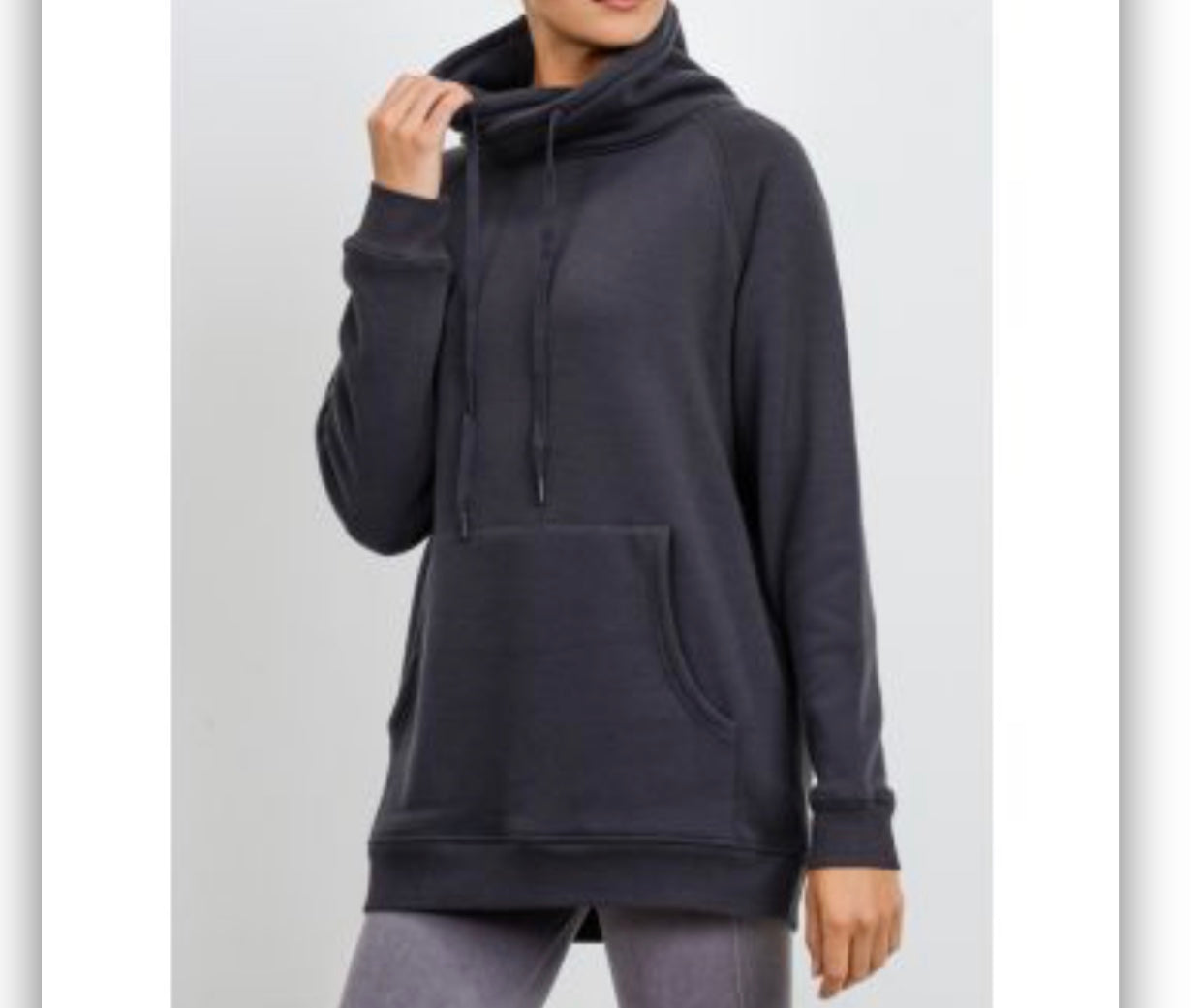 Criss-Cross Cowl Neck Longline Pullover