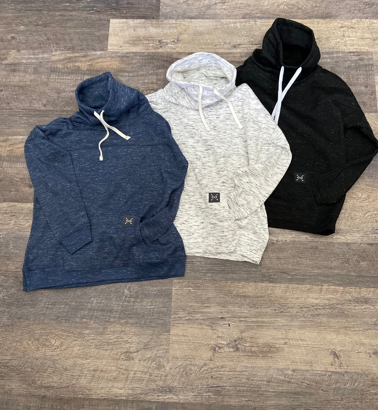 Navy Melange Fleece Pull Over