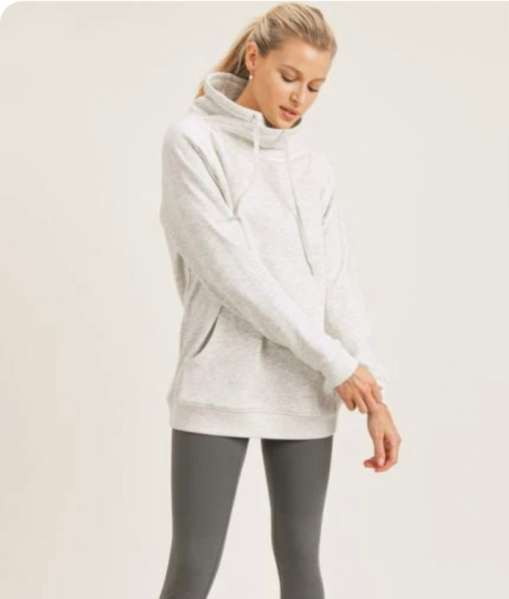 Cream Criss- Cross Cowl-neck Pull over