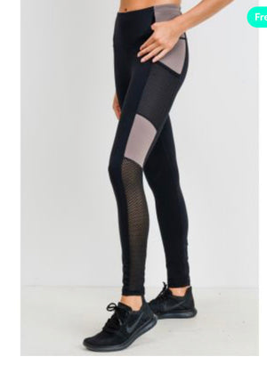 Highwaist Trellis-Mesh Colorblock Full Leggings (APH2143