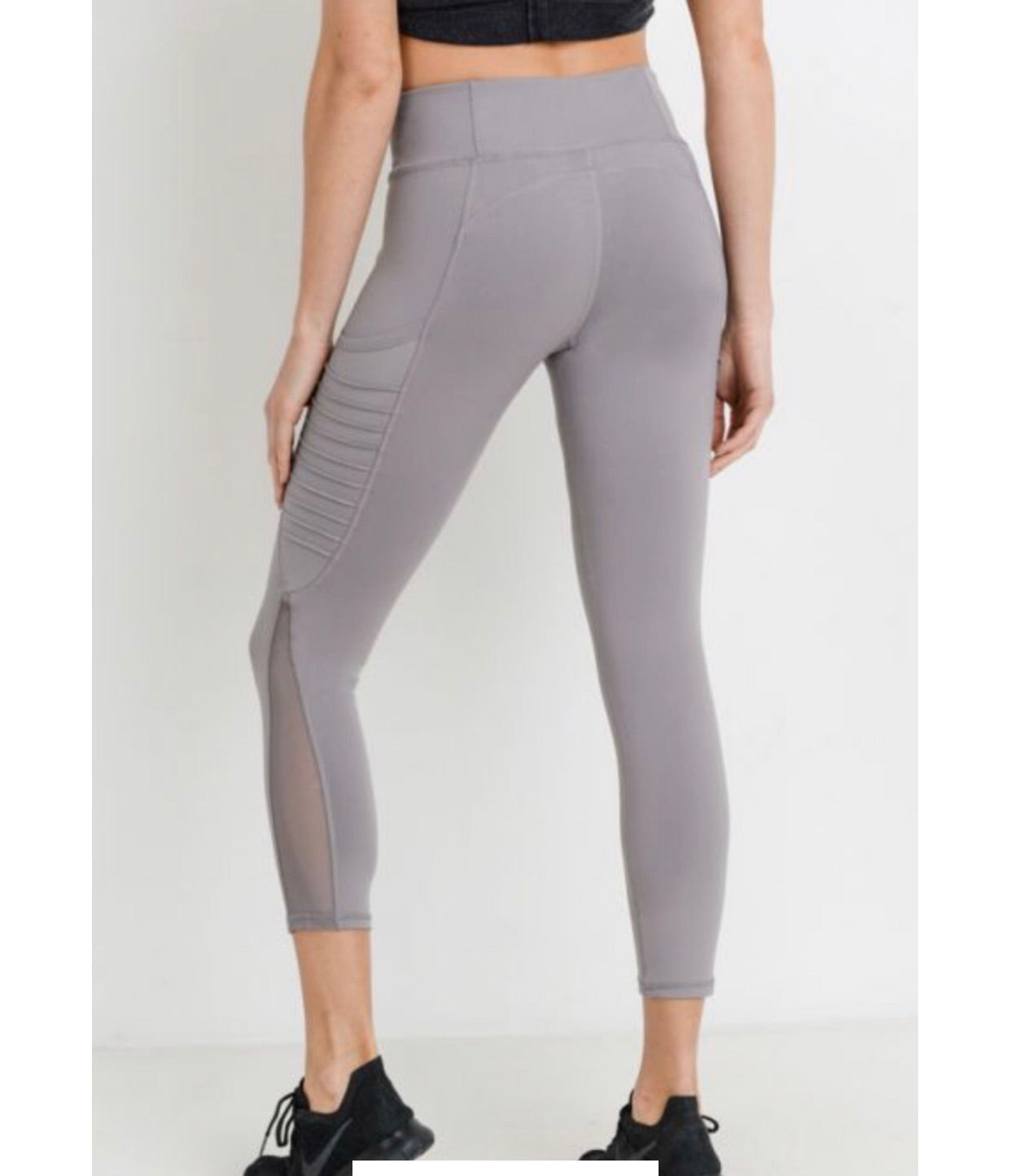 Motto Ribbed Splice Mesh Pocket Leggings (AP1714