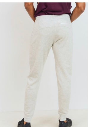 Men's Cream Fleece Sweat-Pants with Zip Pockets