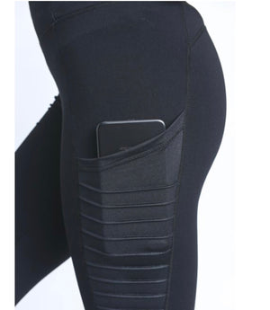 Moto Ribbed Splice Mesh Pocket Leggings