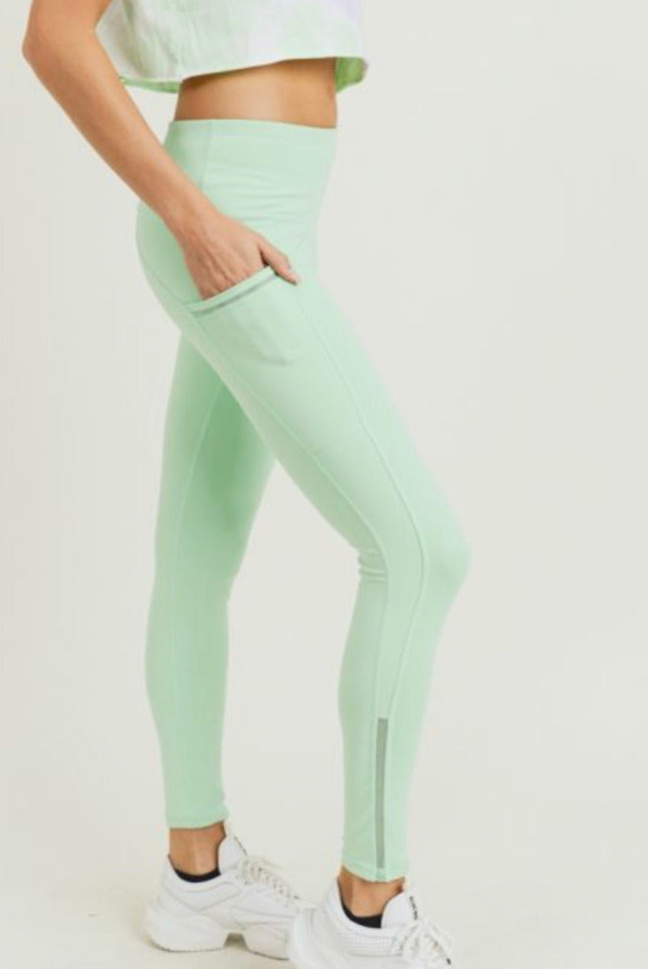 Mint Highwaist Side-Mesh & Slit Full Leggings *Clearance*