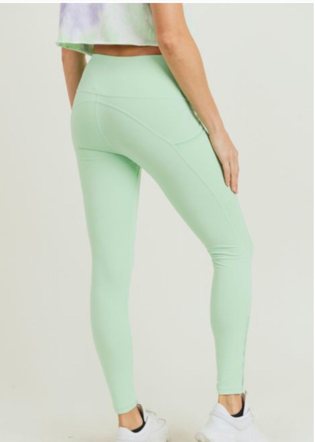 Mint Highwaist Side-Mesh & Slit Full Leggings