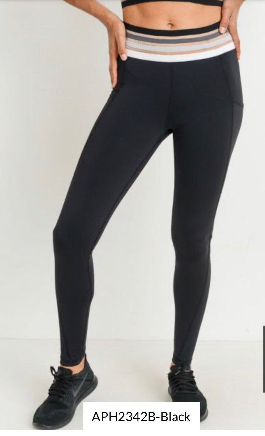 Highwaist Quatro Band Soft Mesh Full Leggings (APH2342B)