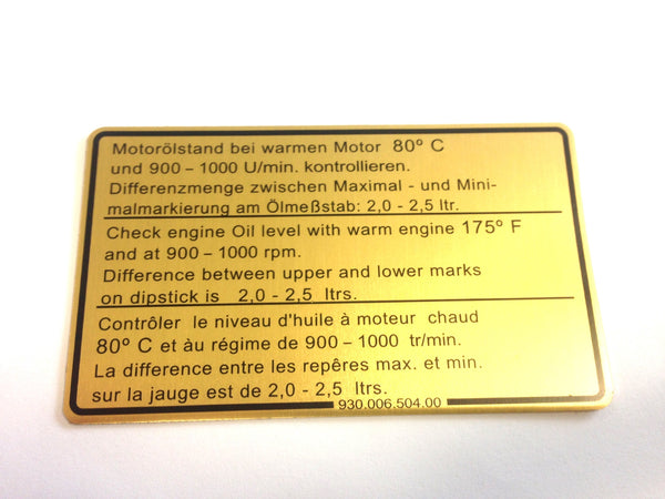 (New) 911SC Engine Oil Level Decal - 1978-80