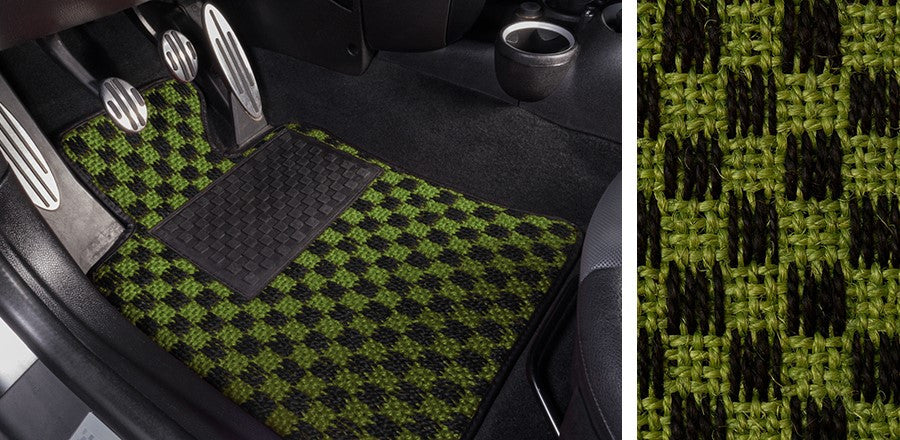 (New) #102 Black and Green Chequer Mats - Two Piece or Four Piece