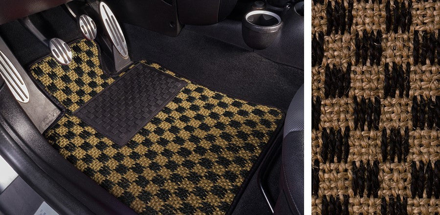 (New) #104 Black and Tan Chequer Mats - Two Piece or Four Piece