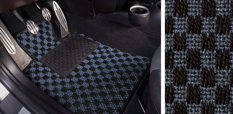 (New) #105 Black and Blue Chequer Mats - Two Piece or Four Piece