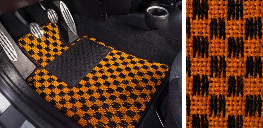 (New) #106 Black and Orange Chequer Mats - Two Piece or Four Piece