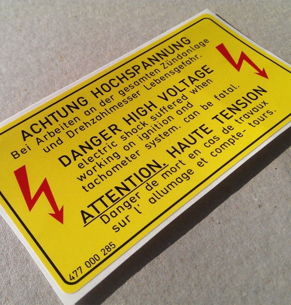 "(New) 924/944 ""Danger High Voltage"" Decal - 1976-85"