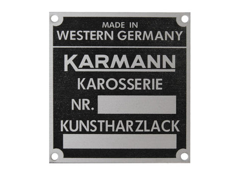 (New) 356/911/912/914 Karmann Body/Chassis ID Badge - 1959-76