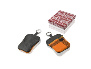 (New) Orange Tartan Key Pouch w/ Embossed Porsche Crest