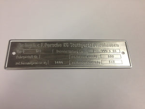(New) 911 Chassis ID Plate - 1965-68