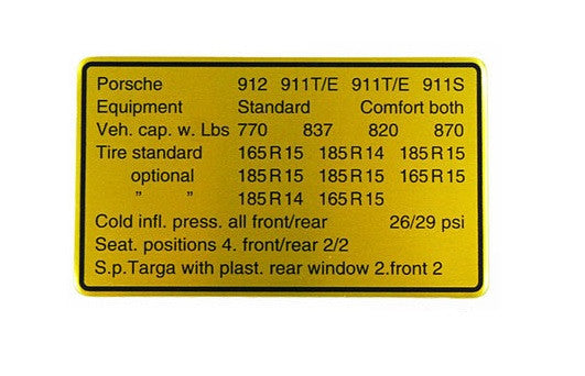 (New) 911/912 Vehicle Capacities and Tire Pressure Decal - 1969
