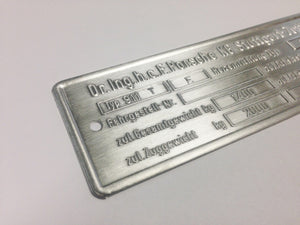 (New) 911 T Type E Chassis ID Plate - 1972-73