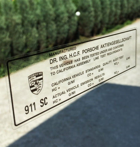 (New) 911 SC California Window Emissions Decal - 1978-83