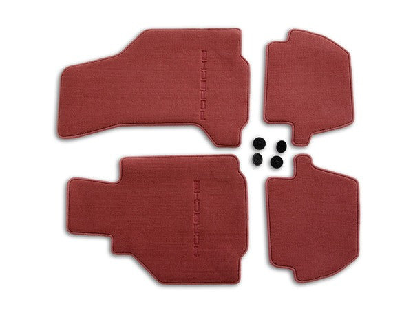 (New) 996 Cabriolet/Targa Set of Four Boxster Red Floor Mats - 2002-05