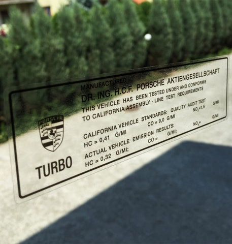 (New) 911 930 Turbo California Window Emissions Decal - 1975-85