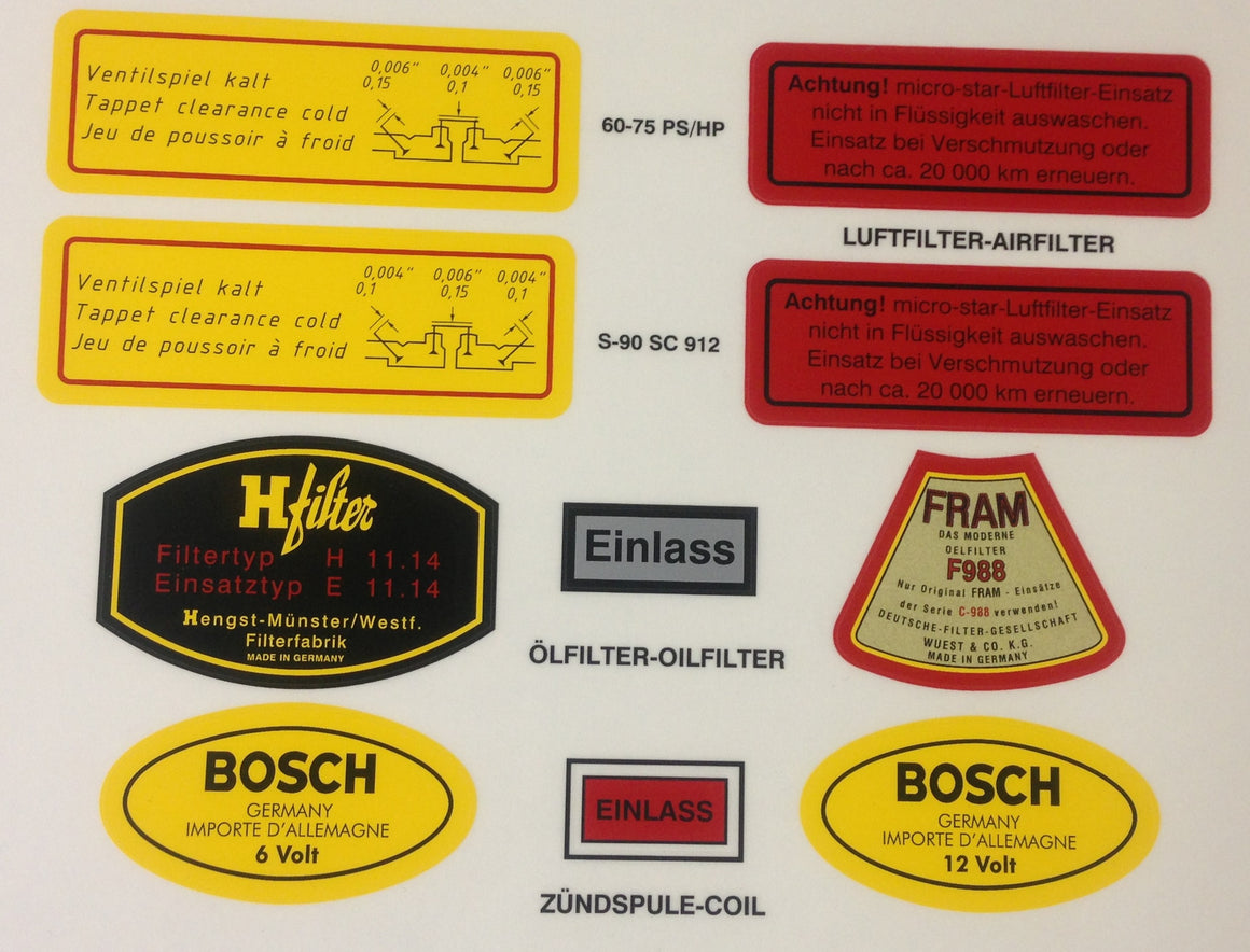 (New) 356/912 Engine Decal Set - 1950-69
