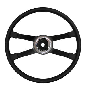 (New) 911/912 400mm Black Leather VDM Steering Wheel - 1969-73