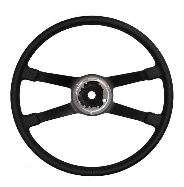 (New) 911/912/914 380mm Black Leather VDM Steering Wheel - 1969-74