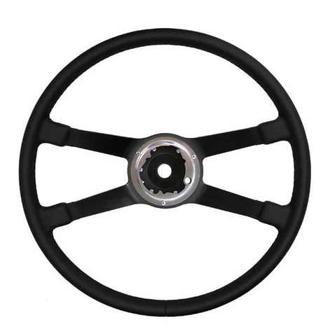 (Restored) 911/912/914 380mm Black Leather VDM Steering Wheel - 1969-74