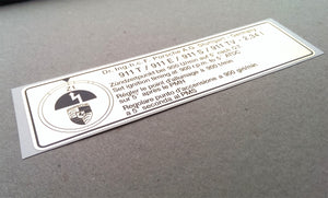 (New) 911 T, E, or S Timing Decal - 1972-73