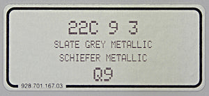 (New) 911/928/944/Boxster Slate Grey Metallic Paint Code Decal - 1991-2010