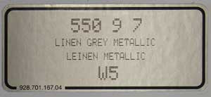 (New) 911/928/944/964 Linen Grey Metallic Paint Code Decal - 1989-2007