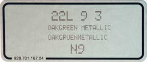 (New) 911/928/964/968 Oak Green Metallic Paint Code Decal - 1989-93