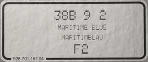 (New) 911/928/944/968 Maritime Blue Paint Code Decal - 1990-93