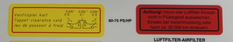 (New) 356 60/75 PS/HP Valve Clearance Decal - 1960-69