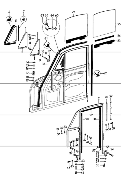(New) 356 Upper and Rear Window Guide - 1950-65